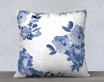 Blue Floral Pillow Cover, Blue and White Pillow Sham, Linen Throw Pillow, Modern Watercolor Accent Pillow Cover, 22 x 22, 18 x 18 square