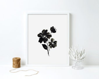Black and White Floral Print - Minimalist Floral Wall Art, Instant Download, Printable Flower Art, Bedroom Wall Decor, 8x10, 11x14 digital