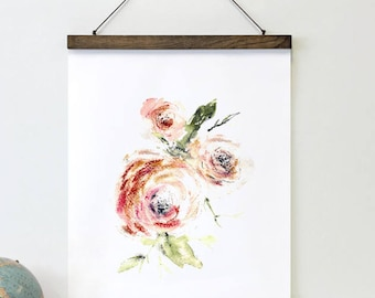 Mixed Media Floral Art - Abstract flower canvas, blush pink rose, romantic roses print, framed art, hand painted rose, farmhouse wall decor
