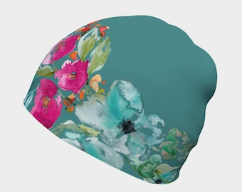 Teal Slouchy Hat for Women - Floral Beanie Hat, Teal Cancer Awareness, Ovarian Cancer Gifts, Soft Slouchy Hat, Chemo Beanie, Hospital Beanie