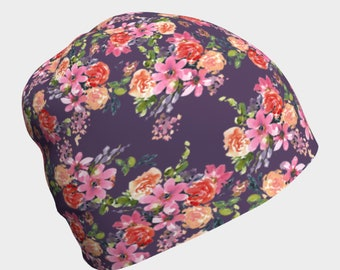 Beanie hat for women, Ladies Chemo Cap, Skull Cap, Hair Loss Gift, Soft Floral Comfy Hat for Cancer or Chemotherapy, Alopecia Head Cover
