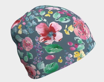 Slouchy Hat for Women, Chemotherapy Gift, Cancer Beanie, Breast Cancer Gifts, Floral Patterned Beanie, Hat for Hair Loss, Ladies Chemo Cap