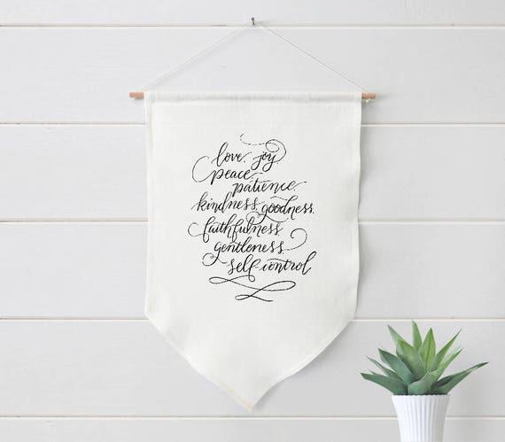 The Fruit Of The Spirit Linen Banner Galatians 5 22 Etsy