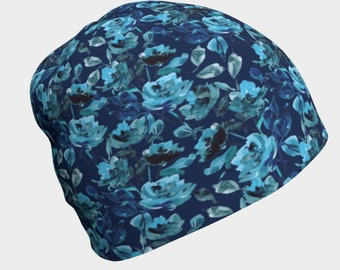 Slouchy hats for women, soft hair loss hat, blue rose chemo hat, women's beanies, cancer gift for chemotherapy, navy floral print beanie