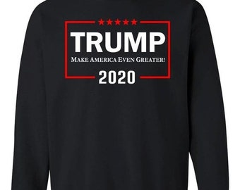 8f8c3117c ON SALE - Donald Trump 2020 Even Greater White and Red Text - Crewneck  Sweatshirt