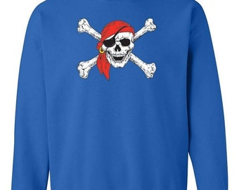 ON SALE - Pirate Crossbones and Red Bandanna  - Crewneck Sweatshirt