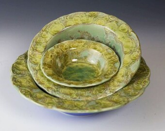 Vintage Australian Pottery Stamped AND Signed David Williams Pottery Crystalline Bowl 5.5 Green and Yellow Gold