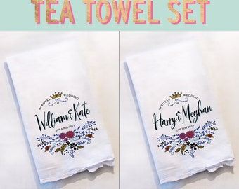 Royal Wedding Harry and Meghan William and Kate Tea Towel Set Souvenir Prince Harry Meghan Markle London Collectible Fairytale Wedding