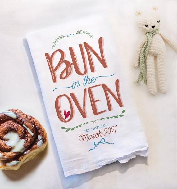 Bun In The Oven Tea Towel Pregnancy Announcement Grandparents Etsy