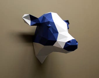 Phoebe the Cow - Papercraft, DIY Kit, Cow Gifts, Cow Decor, Wall Decor, Farmhouse Decor, Wall Art, Low Poly, DIY Paper Sculpture