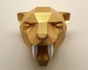 Diy paper sculpture kits by residentdesign on etsy fiona the sabre tooth tiger diy paper sculpture kit solutioingenieria Choice Image
