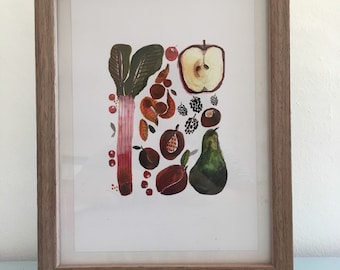Autumn Fruits Watercolour