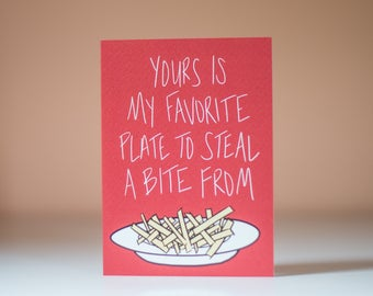 Yours Is My Favorite Plate To Steal A Bite From - Greeting Card - Blank Inside - Love Card - Romantic Card - Spouse Card - Friend Card