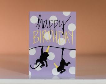 Happy Birthday Card - Greeting Card - Blank Inside - Birthday Card - Fun Birthday Card - Monkey Card - Zoo Animal Birthday Card