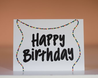 Happy Birthday Garland - Greeting Card - Happy Birthday Card - Birthday Card - Blank Inside Birthday Card - Simple Birthday Card