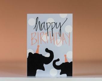 Happy Birthday Card - Greeting Card - Blank Inside - Birthday Card - Fun Birthday Card - Elephant Card - Zoo Animal Birthday Card