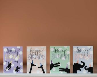 Zoo Animals Happy Birthday Pack - Birthday Card Pack - Animal Birthday Card - Zoo Birthday Card - Elephant - Monkey - Giraffe - Crocodile