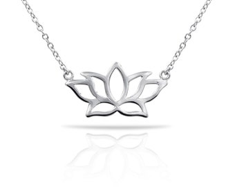 Lotus Necklace, Sterling Silver Lotus Necklace, Gold Lotus Necklace
