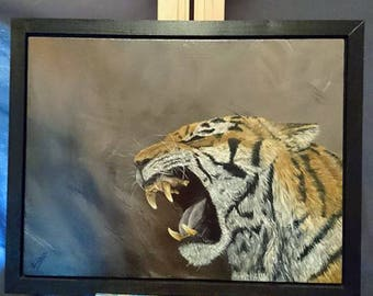 Tiger Acrylic Painting, Original Art, Realistic Roaring Big Cat, Siberian Tiger Fierce, Tiger portrait