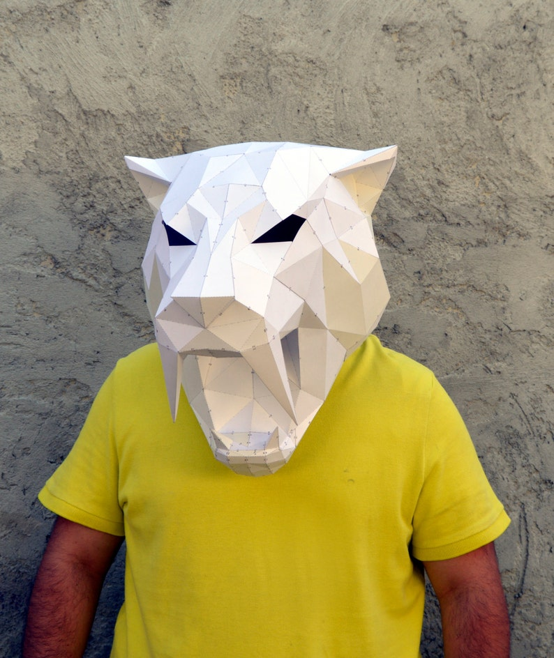 Make Your Own Sabertooth Tiger Mask  | Papercraft Sabertooth | Papercraft  Tiger | Papercraft Animal | Puma | Tiger | Leopard | Wild cat