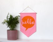 Hello Banner felt banner, felt flag, pennant flag, Bright Banner, speech bubble, fabric banner, Wall Hanging, Nursery decor