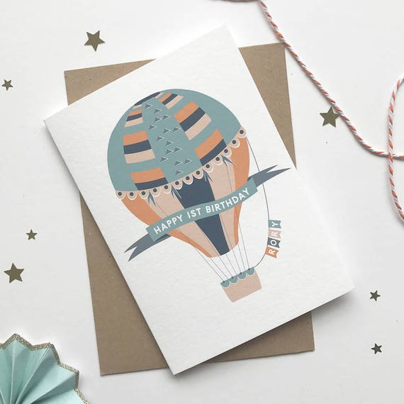 Hot Air Balloon Personalised Childrens Birthday Card Age Etsy