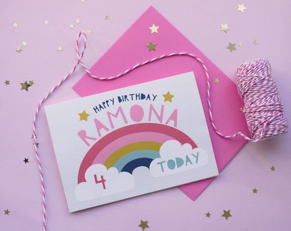 Rainbow Personalised Childrens Birthday Card Age Card Happy Etsy