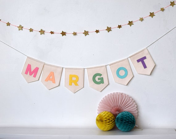 Baby room name bunting personalised grey pastel primary colours nursery gold