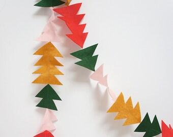 Trees And Triangles Felt Christmas Garland, Christmas tree decoration, Christmas bunting, festive decor triangle garland, felt garland