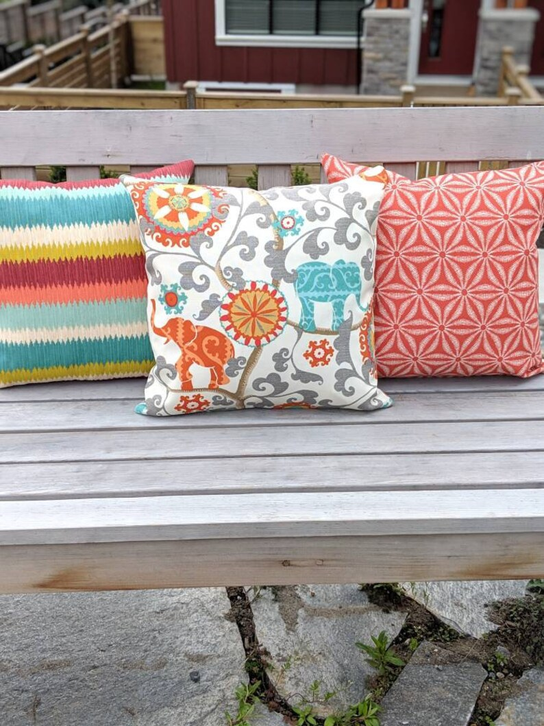 Whimsical. Orange Outdoor Pillow Cover Housewarming Gift IndoorOutdoor PillowCushion Cover Elephant Pillow