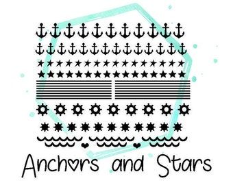 Anchors and Stars Vinyl Nail Stickers