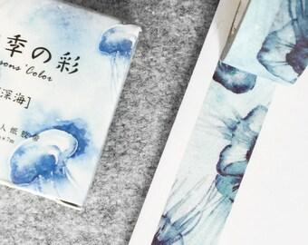 Cute washi tape - blue jellyfish | Cute Stationery