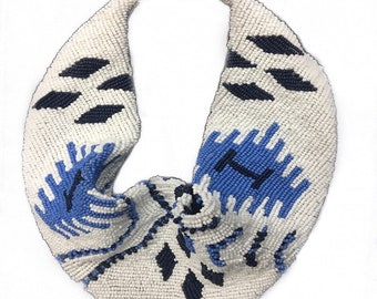 Mercer Beaded Scarf Necklace in Navy, White, Periwinkle