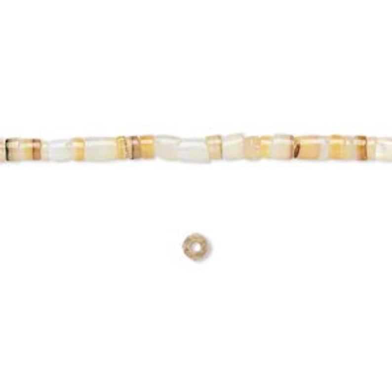 Boho Heishi D747 16 strand Hippie Gold Lip Shell Puka 2 to 3mm