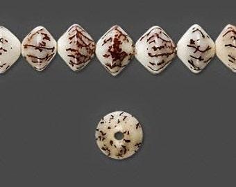 Betel Nut Bead, Bicone Bead, Brown Matrix Bead, Natural Bead, 7x5mm to 9x7mm, 30 each, D720