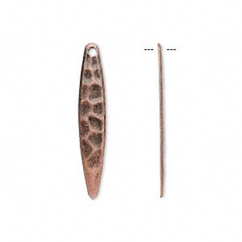 Copper charm hammered copper spear antiqued copper drop 28x5mm 10 each D541