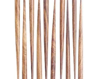 """Brown Hair Stick, Wood, end drilled, 6"""" long, sold per pair, D391"""