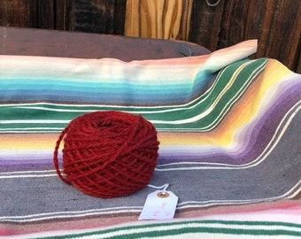 Navajo Churro Sheep Two Ply Yarn - Madder Red Color- 200 yards 2.9 ounces - R4