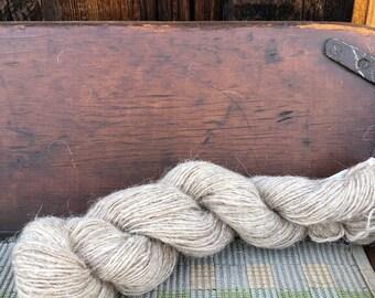 Navajo Churro Sheep Handspun Yarn Single Ply JU8 2.22 ounces - 200 yards - Sand color
