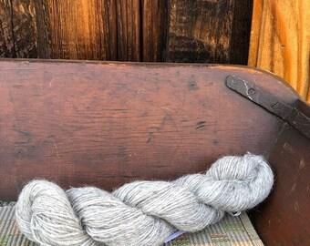 Navajo Churro Sheep Handspun Yarn Single Ply JU4 2.92 ounces - 200 yards - silver gray color