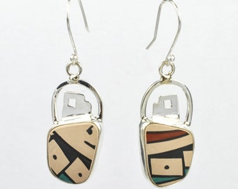 Silver and Ceramic Earrings