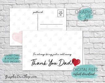Digital 4x6 Thank You Card for Dad from Daughter, Folded & Postcard Included | High Res JPG Files, Instant Download, Ready to Print