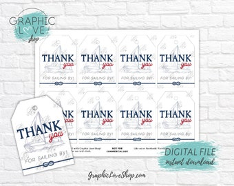 Digital Vintage Nautical Printable Thank You Tags, Baby Shower Birthday Party | High Resolution JPG File, Instant Download, Ready to Print