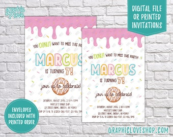 Colorful Donut and Sprinkles Personalized Birthday Party Invitation, Any Age   4x6 or 5x7, Digital File or Printed, FREE US Shipping