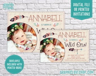 Boho Chic Wild ONE Personalized Baby Girl First Birthday Invitation, with photo | 4x6 or 5x7, Digital File or Printed, FREE US Shipping