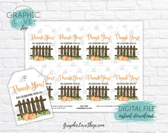 Digital Pumpkin Patch Fall Autumn Printable Birthday Party Thank You Tags | High Resolution JPG File, Instant Download, Ready to Print