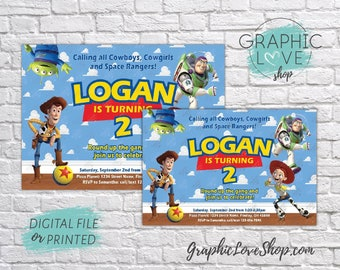 Personalized Toy Story Woody, Buzz, Jessie Birthday Invitation, Any Age | 4x6 or 5x7, Digital File or Printed, FREE US Shipping & Envelopes