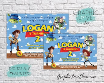 Personalized Toy Story Woody, Buzz, Jessie Birthday Invitation, Any Age   4x6 or 5x7, Digital File or Printed, FREE US Shipping & Envelopes