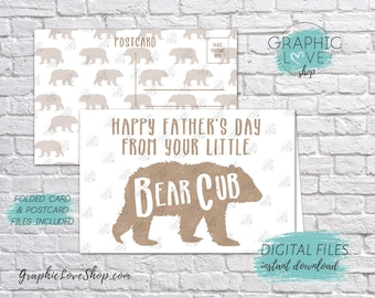 Digital 4x6 Happy Father's Day Card from Baby Bear Cub, Folded & Postcard included | High Res JPG Files, Instant Download, Ready to Print