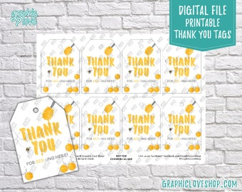 Digital Sweet Honey Bee Printable Thank You Favor Tags, You Print | High Resolution 300dpi JPG File, Instant Download, Ready to Print